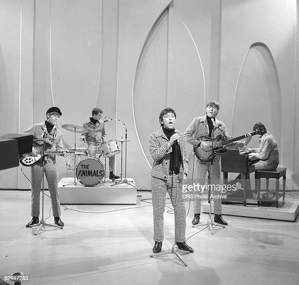 British rock group The Animals perform in matching checkered suits on an episode of 'The Ed Sullivan Show' New York, New York, February 6, 1966....