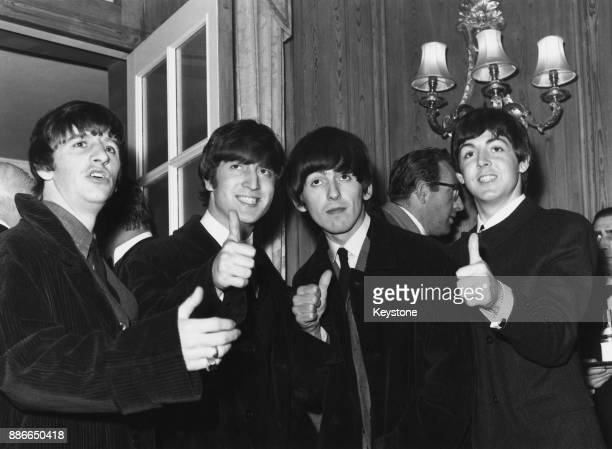 British rock group the Beatles at the Dorchester Hotel in London 1964 From left to right Ringo Starr John Lennon George Harrison and Paul McCartney