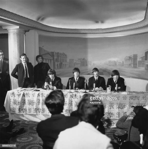 British rock group the Beatles hold a press reception at the Saville Theatre in London after each received an MBE at Buckingham Palace 26th October...