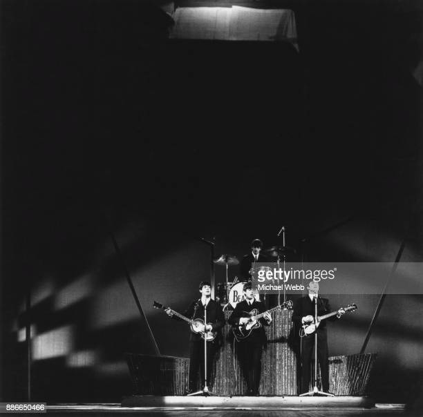 British rock group the Beatles on stage at the London Palladium 14th October 1963