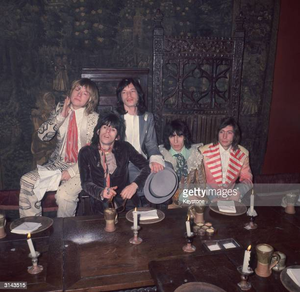British rock group The Rolling Stones Brian Jones Keith Richards Mick Jagger Bill Wyman and Charlie Watts at the Kensington Gore Hotel where they...