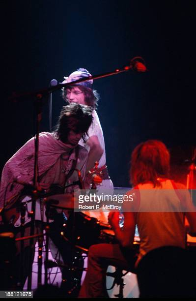 British rock group the Rolling Stones perform onstage at Madison Square Garden as part of their STP Tour New York New York July 26 1972 Pictured are...