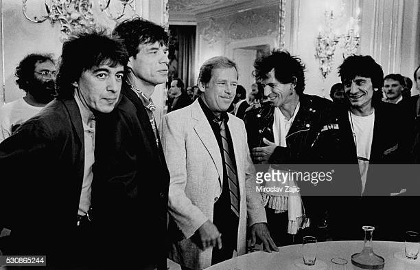 British rock group the Rolling Stones visiting the Czechoslovak President Vaclav Havel in Prague Castle