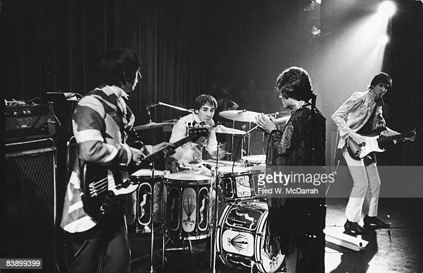 British rock group the Who perform on stage at the Fillmore East concert venue New York New York July 8 1967 Pictured are from left bassist John...