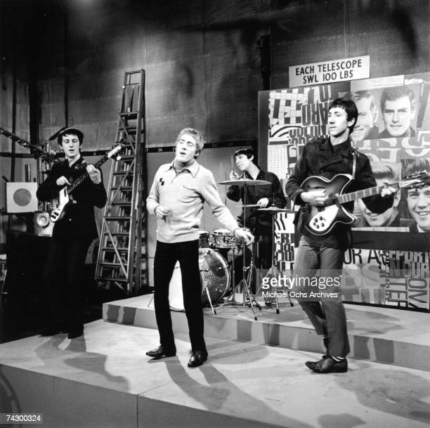 British rock group The Who performing on the TV pop music show 'Ready Steady Go' London 1965 Left to right John Entwistle Roger Daltrey Keith Moon...