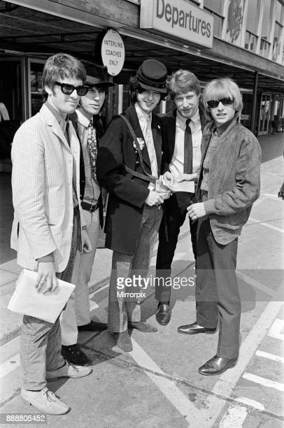 British rock group The Yardbirds at London airport as they leave for Canada to start a month long tour of the United States They are Jim McCarty Jeff...