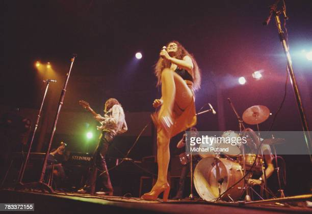 British rock group Vinegar Joe performing live on stage at the Roundhouse, Camden, London, 4th May 1972. Left to right: keyboard player John Hawken,...