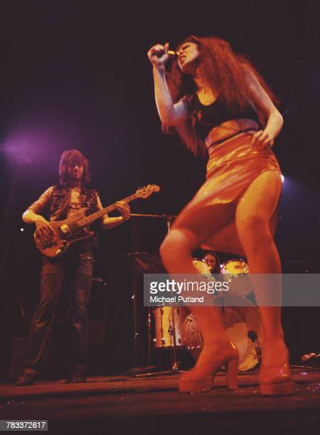 British rock group Vinegar Joe performing live on stage at the Roundhouse Camden London 4th May 1972 Left to right bassist Steve York singer Elkie...