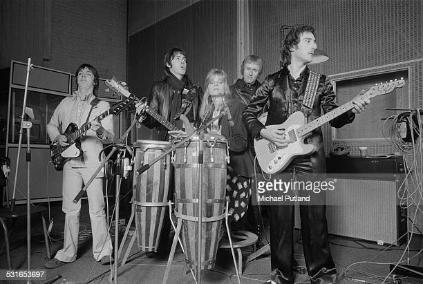 British rock group Wings at Abbey Road Studios to record the album 'Venus And Mars' London 15th November 1974 Left to right guitarist Jimmy McCulloch...