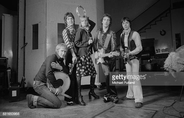 British rock group Wings at Abbey Road Studios to record the album 'Venus And Mars' London 15th November 1974 Left to right drummer Geoff Britton...
