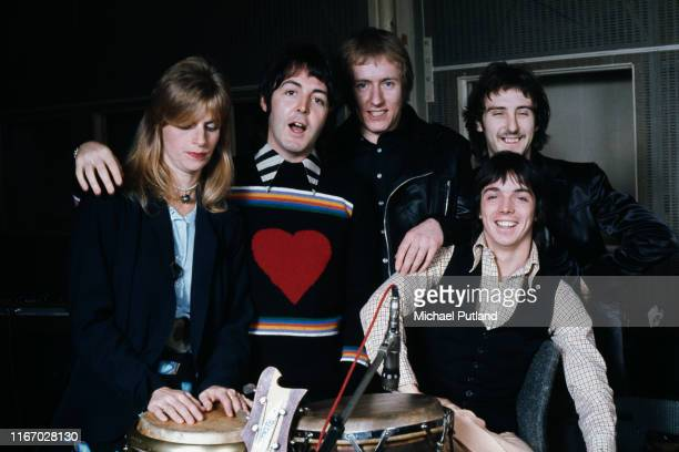 British rock group Wings pictured together at Abbey Road Studios to record the album, 'Venus And Mars', London, 15th November 1974. Left to right:...