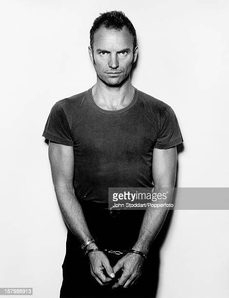 British rock musician and actor Sting in handcuffs 1993