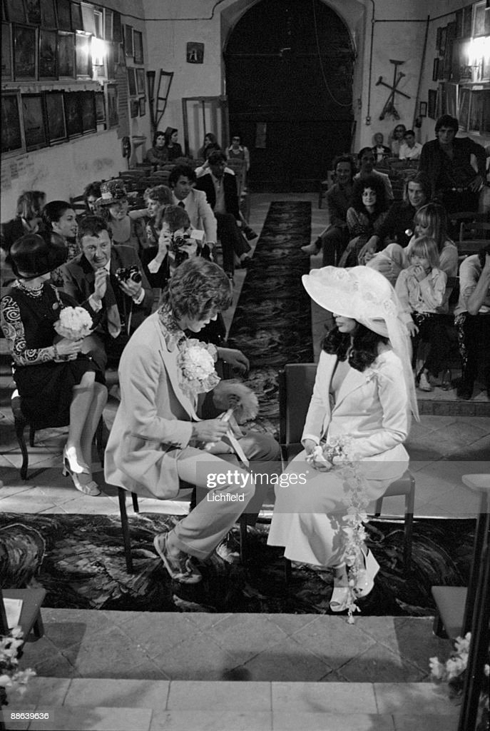 British rock musician Mick Jagger and Nicaraguan model, actress and human rights advocate Bianca Perez Morena de Marcias during their Wedding Ceremony in the Chapel of Saint Anne, St Tropez, France on 12th May 1971. (Photo by Lichfield/Getty Images).
