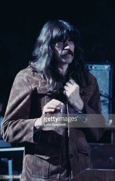 British rock pianist and organist Jon Lord , wearing a brown suede jacket, of rock band Deep Purple as the band play California Jam, a rock music...