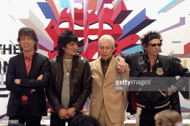 British Rock Roll Legends lead singer Mick Jagger Guitarist Ron Wood Drummer Charlie Watts and Guitarist Keith Richards of The Rolling Stones attend...