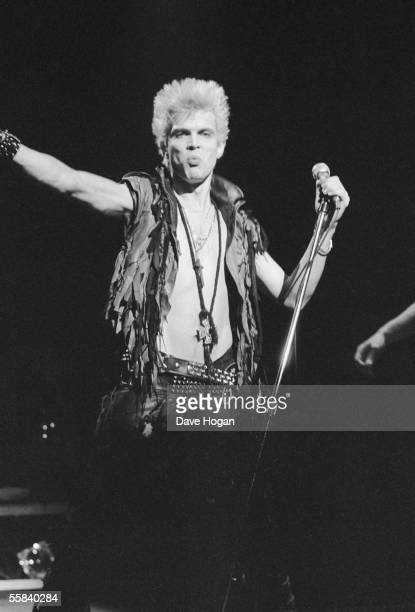 British rock singer Billy Idol on stage at the Beacon Theatre New York February 1984