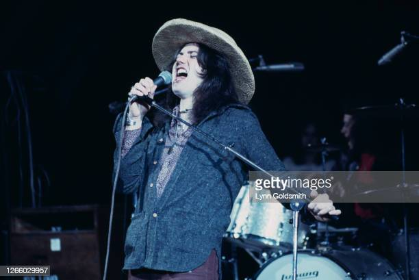 British rock singer David Coverdale of rock band Deep Purple as the band play California Jam, a rock music festival held at the Ontario Motor...
