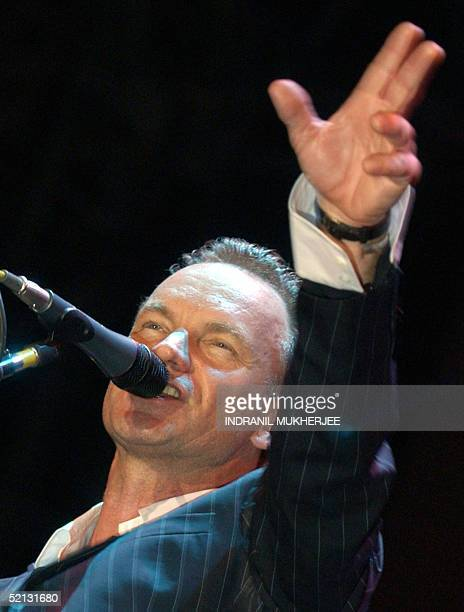 British rock singer Gordon Sumner better known as 'Sting' gestures during a live performance in Bangalore 04 February 2005 Sting an environmental and...