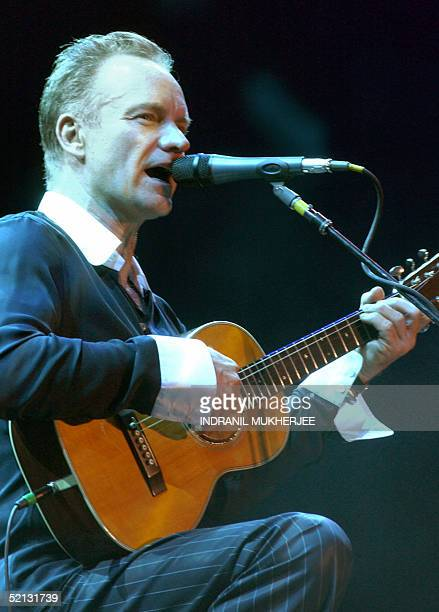 British rock singer Gordon Sumner better known as 'Sting' performs during a live performance in Bangalore 04 February 2005 Sting an environmental and...