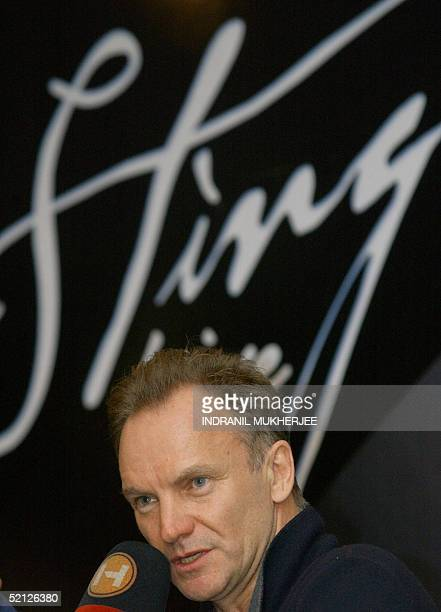 British rock singer Gordon Sumner better known as 'Sting' replies to a question during a press conference in Bangalore 03 February 2005 on the eve of...