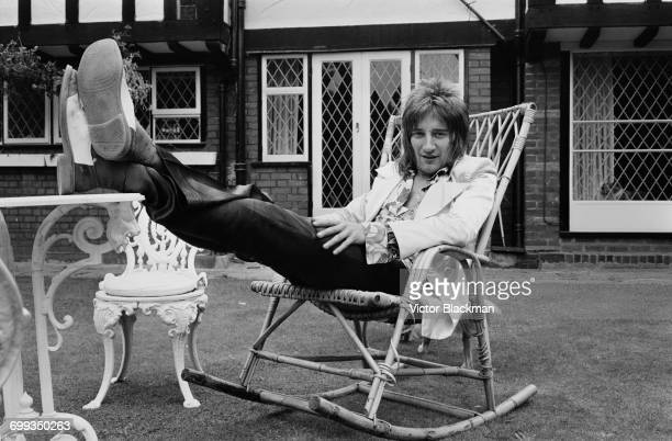 British rock singer Rod Stewart lounging in the garden UK 12th September 1971