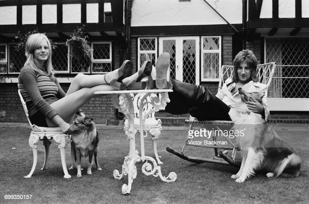 British rock singer Rod Stewart with his girlfriend model Dee Harrington UK 12th September 1971