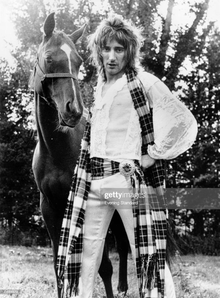 British rock singer Rod Stewart, with his horse, Mia. Rod Stewart was born in London in 1945 but has always associated himself with Scotland and passionately supports the national football side He has performed with the Jeff Beck Group and the Small Faces but began a successful solo career in 1976 and had his first number 1 single in 1978 with 'Do Ya Think I'm Sexy?'.