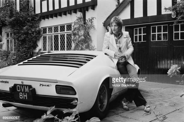 British rock singer Rod Stewart with his Lamborghini Miura UK 12th September 1971