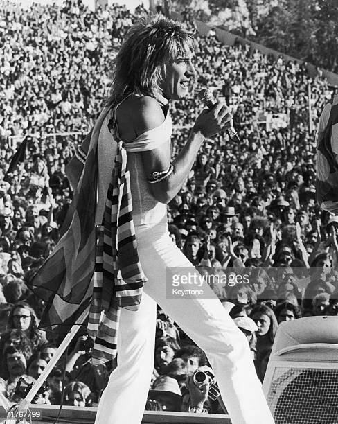British rock star Rod Stewart onstage with the Faces at the Earl Warren Showgrounds in Santa Barbara California 1973