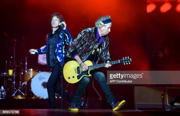 British rockband the Rolling Stones with their singer Mick Jagger and guitarist Keith Richards perform at the Esprit arena during the Rolling Stones...