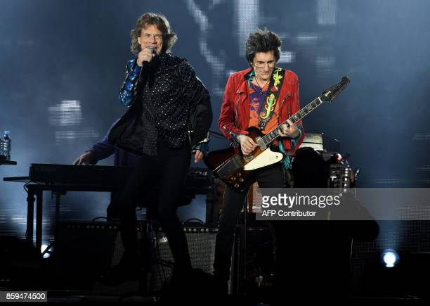 British rockband the Rolling Stones with their singer Mick Jagger and Ronnie Wood perform at the Esprit arena during the Rolling Stones tour Stones...