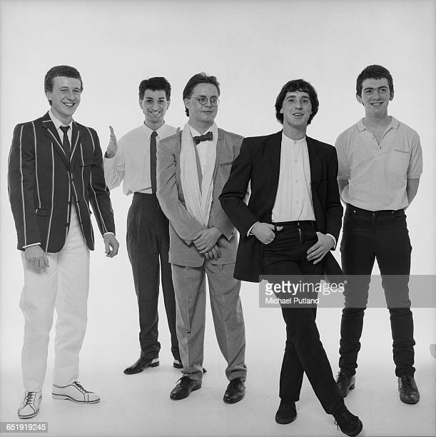 British rockska band The Reluctant Stereotypes January 1981 Left to right drummer Colin Heanes singer Paul King clarinetist Steve Edgson guitarist...
