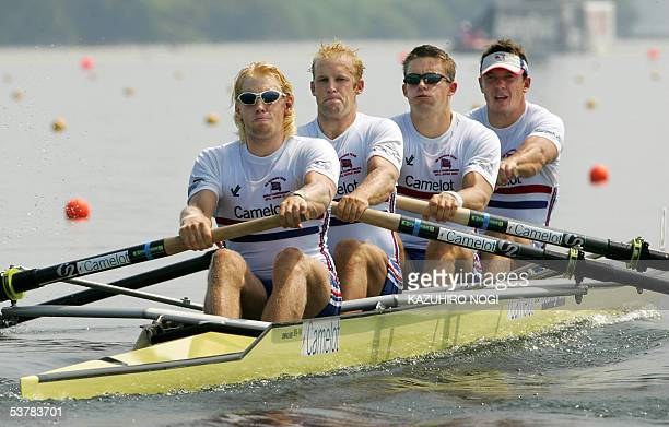 British rowers Andrew Triggs Hodge Alex Partridge Peter Reed and Steve Williams compete in the men's four semifinal at the World Rowing Championships...