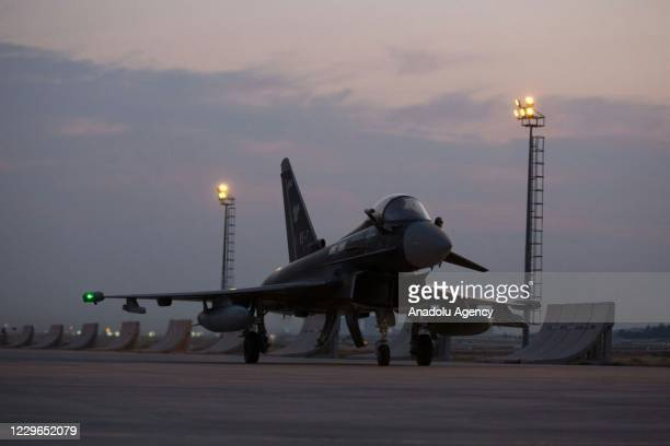 British Royal Air Force Eurofighter Typhoon arrives to attend a joint military training will be carried out with aircrafts of Turkish Air Forces at...