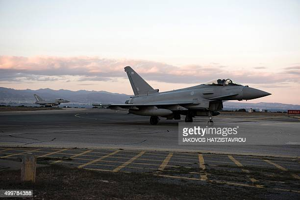 British Royal Air Force Eurofighter Typhoon fighter jet is seen on the tarmac at the British airbase at Akrotiri, near Cyprus' second city of...