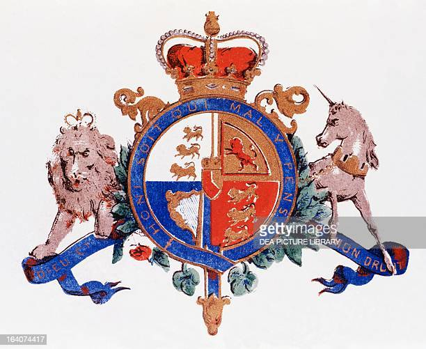 British royal coat of arms of the United Kingdom in the first and fourth sector of the shield are the three lions passant in the second the rampant...