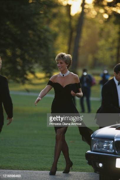 British royal Diana Princess of Wales wearing a black Christina Stambolian dress attends a Vanity Fair party at the Serpentine Gallery in London...