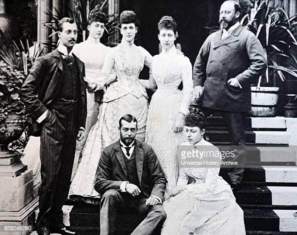 British royal family 1892 L to R standing Prince Albert Duke of Clarence Maud of Wales Queen Alexandra Louise Princess Royal Prince L to R seated...