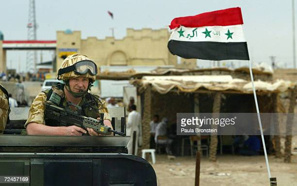 British Royal Marine Commandos patrol the streets near the Iranian border April 3, 2004 in Basra, Iraq. Iraqi demonstrators demanding jobs clashed...