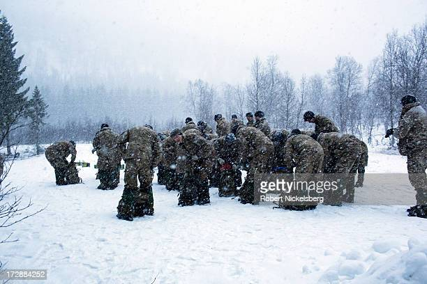 British Royal Marines go through survival exercises March 4, 2013 in a forest at the Allied Arctic Training Center in Bardufoss, Norway. Staying warm...