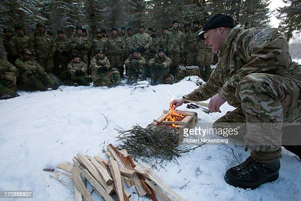 British Royal Marines receive instruction during survival exercises March 4 2013 at the Allied Arctic Training Center in Bardufoss Norway Staying...