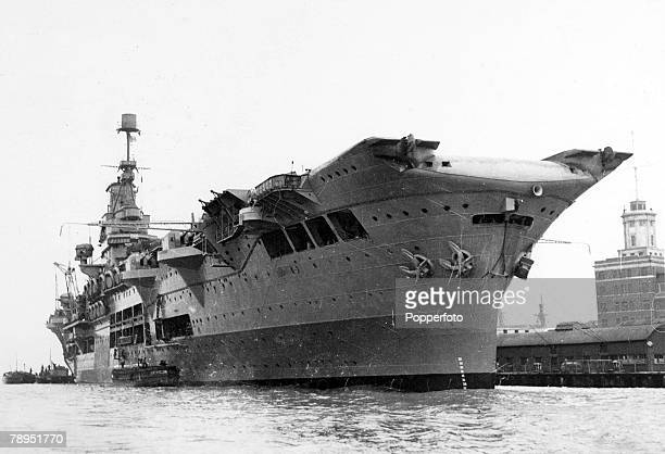 War and Conflict World War Two Sea War pic circa 1940 British Royal Navy aircraft carrier HMS Ark Royal at Portsmouth