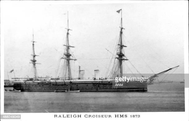 British Royal Navy Battleship Cruiser HMS Raleigh, anchoring in an undisclosed naval port, ca. 1873.