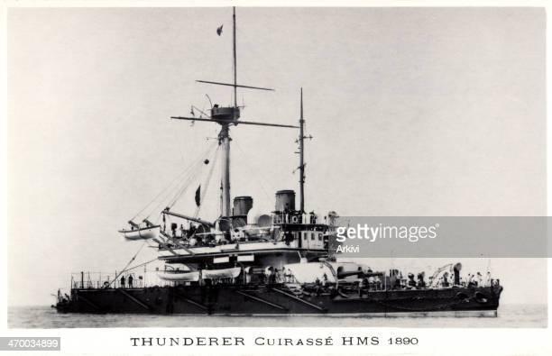 British Royal Navy Battleship Cruiser HMS Thunderer at sea ca 1890