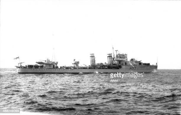 British Royal Navy Battleship Destroyer HMS Garland H37 at sea date not given