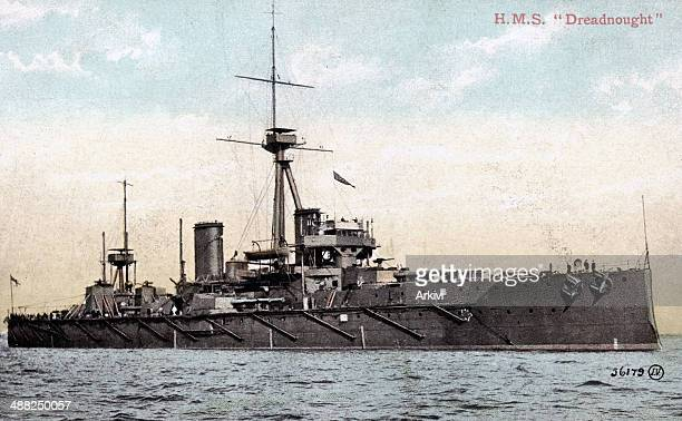 British Royal Navy Battleship HMS Dreadnought at sea date not given