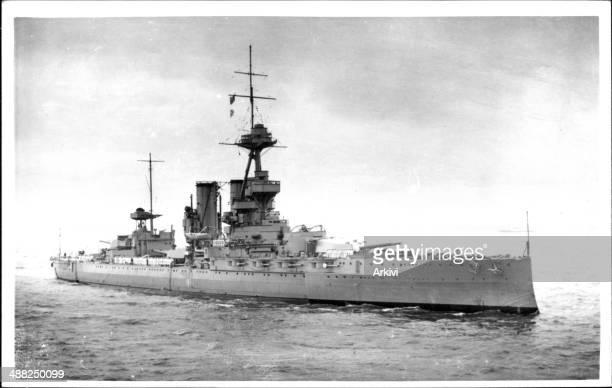 British Royal Navy Battleship HMS Iron Duke, at sea, date not given.
