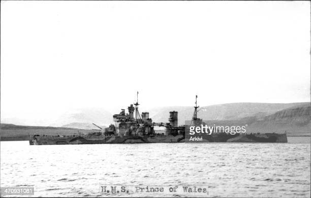 British Royal Navy Battleship HMS Prince of Wales H 12911 anchoring in an undisclosed naval port ca 1941