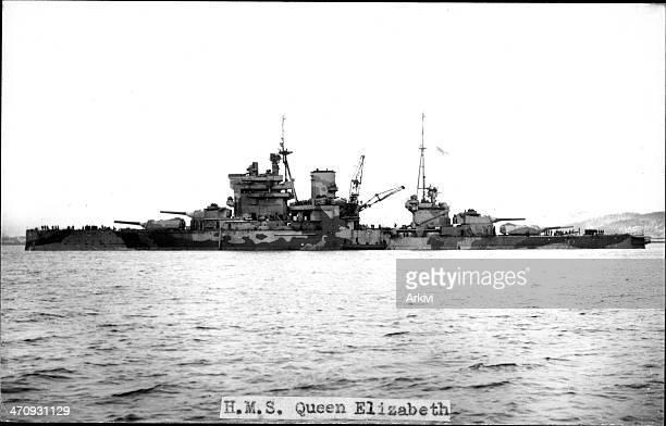 British Royal Navy Battleship HMS Queen Elizabeth A 9257 at sea ca 1941
