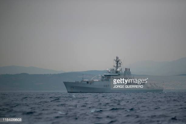 British Royal Navy ship, the HMS Echo , patrols near the supertanker Grace 1 off the coast of Gibraltar on July 6, 2019. - Iran demanded on July 5,...